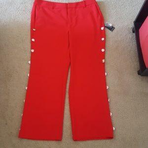 Red dress pants w/gold button detail